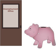 Unemployment Office. Piggy bank visiting unemployment office Stock Image
