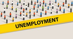 Unemployment rate people protesting crowd illustration many people looking for a job Royalty Free Stock Photography