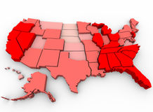 Unemployment Rates - United States Map. A United States map showing unemployment rates by state, with red being highest percentage of joblessness Royalty Free Stock Images