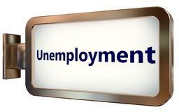 Unemployment on billboard background. Unemployment on wall light box billboard background , isolated on white Royalty Free Stock Photo