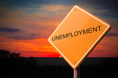 Unemployment on Warning Road Sign. Stock Photos
