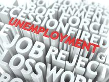 Unemployment. The Wordcloud Concept. Unemployment - Wordcloud Social Concept. The Word in Red Color, Surrounded by a Cloud of Words Gray Royalty Free Stock Photo