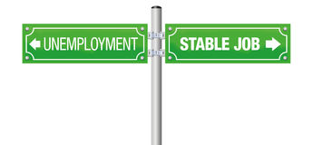 Unemployment Work Stable Job Street Sign. UNEMPLOYMENT and STABLE JOB written on a green guidepost - isolated vector illustration on white background Stock Image
