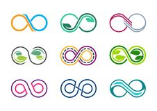 Unendlichkeit, Logo, acht, Blattnatur unbegrenzt, moderner abstrakter Unendlichkeitssatz Sammlungsfirmenzeichensymbolikonen-Vekto stockfotografie