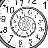 Unendlichkeits-Zeit-Spiralen-Uhr-Wand Stockbilder