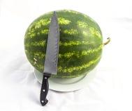 Unentbehrliche Frucht der Sommermonatswassermelone, mit einem Messer geschnitten zu werden auf Sie wartend, Stockfoto