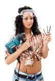 Unentschlossene Reparaturfrau Lizenzfreies Stockfoto