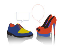 Unequal dialogue between colorful shoes Royalty Free Stock Photo
