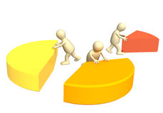 Unequal division. Conceptual 3d image - unequal division Royalty Free Stock Photo