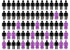 Unequality en negro, púrpura y el blanco 0 Fotos de archivo