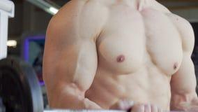 Unerkennbarer muskulöser hemdloser Mann, der Bizepslocken mit einem Barbell tut stock footage