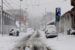 Unerwartete enorme Schneefälle Lizenzfreies Stockbild