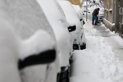 Unerwartete enorme Schneefälle gelähmt die Stadt Lizenzfreies Stockfoto