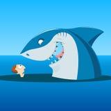 Unerwartete Sitzung des Mannes und des Haifischs stock abbildung