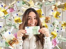 Unerwartetes Gewinnen des Geldes Lizenzfreies Stockfoto