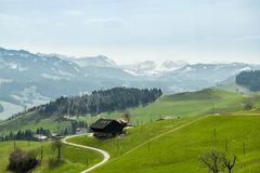 UNESCO biosphere reserve Entlebuch in central Switzerland. With beautiful Alps in background stock image