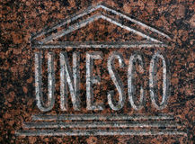 UNESCO emblem. United National educational, scientific and cultural organization emblem.It is used to identify properties protected by the World Heritage Stock Images