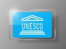 UNESCO Flag Glossy Button. Vector illustration. Stock Photos