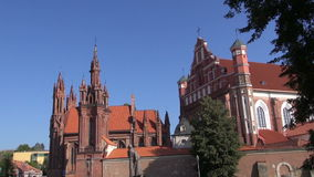 UNESCO heritage historical St. Anne's Church in Vilnius, Lithuania stock video footage