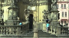 OLOMOUC, CZECH REPUBLIC, SEPTEMBER 1, 2018: UNESCO heritage plague column, gypsies and gypsy children prohibited and stock video