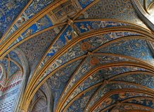 UNESCO heritage site Albi Cathedral transepts. Brightly painted ceiling of the great cathedral of Albi in Southwestern France. The cathedral was added to the Stock Photos