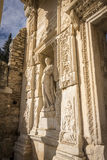 Unesco Heritage Site of the Ancient City of Ephesus, Selcuk, Tur. Statue of Sophia Wisdom in the Celsus library in the ancient city of Ephesus in Selcuk, Turkey stock image