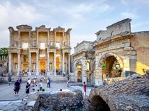 UNESCO heritage site Celsus library facade in Ephesus, Turkey. The ruins of the ancient city of Ephesus with theater and the famous Celsus library, Turkey Stock Image
