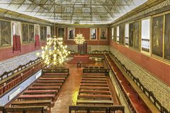 Great Hall of Acts, University of Coimbra. Unesco Heritage Site, is the main room of the University. It is also know as `Hall of Capelos`, `Capelos ` being the royalty free stock photos