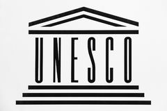 UNESCO logo on a wall Stock Images