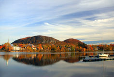 UNESCO natural reserve. View of the Mountain of Mont Saint-Hilaire from the town of beloeil in quebec, canada. Mont st-hilaire is classified as being part of Royalty Free Stock Photo