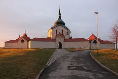 UNESCO Pilgrimage Church of St John of Nepomuk, Czech Republic,. The church stands on Zelena Hora Green Mountain near Zdar nad Sazavou, Czech Republic. It was stock image