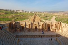 South Antique Theater, Ancient Roman city of Gerasa of Antiquity, modern Jerash, Jordan, Middle East. Unesco protected site located in Northern Jordan, Jerash stock photography