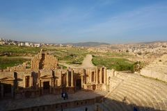 South Antique Theater, Ancient Roman city of Gerasa of Antiquity, modern Jerash, Jordan, Middle East. Unesco protected site located in Northern Jordan, Jerash stock images