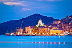 UNESCO town of Sibenik blue hour view Royalty Free Stock Image