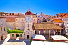 UNESCO Town of Trogir main square panoramic royalty free stock photography