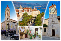 UNESCO town of Trogir tourist postcard. UNESCO town of Trogir tourist collage postcard with famous landmarks, Dalmatia, Croatia Stock Photo
