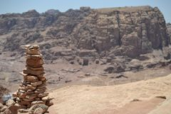 Rock pile heap in Petra, Jordan - ancient Nabatean city in red natural rock and with local bedouins stock photo