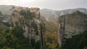 The UNESCO World Heritage listed greek-orthodox monasteries of Varlaam and Roussanou in Meteora, Greece stock video footage