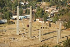 UNESCO World Heritage obelisks of Axum, Ethiopia. Aksum obelisks, symbol of the Aksumite civilization, the most powerful between the Eastern Roman Empire and Stock Image