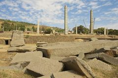 UNESCO World Heritage obelisks of Axum, Ethiopia. Royalty Free Stock Photos