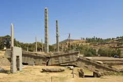 UNESCO World Heritage obelisks of Axum, Ethiopia. Royalty Free Stock Photography