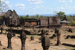 Unesco world heritage restauration of the Vat Phou Khmer temple near Pakse