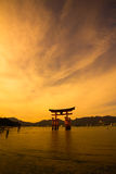Unesco world heritage shrine gate at dusk Royalty Free Stock Photos