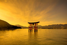 Unesco world heritage shrine gate at dusk Stock Image