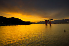 Unesco world heritage shrine gate at dusk Stock Photos