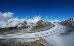 UNESCO World Heritage Site Aletsch Glacier. Panoramic View of Aletsch Glacier, the longest glacier in Europe, as seen from Mount Eggishorn stock image