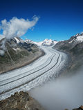 UNESCO World Heritage Site Aletsch Glacier. Panoramic View of Aletsch Glacier, the longest glacier in Europe, as seen from Mount Eggishorn royalty free stock images