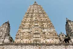 UNESCO World Heritage Site in Bodh Gaya, India. Carved dome of sacred Mahabodhi Temple Stock Image