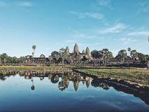 Reflection of Angkor Wat stock photography