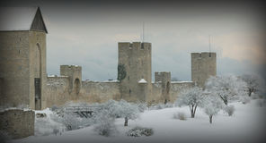 The UNESCO World Heritage Site Visby.GN. Visby medieval citywall during winter .UNESCO World Heritage Site Gotland Sweden.GN stock image